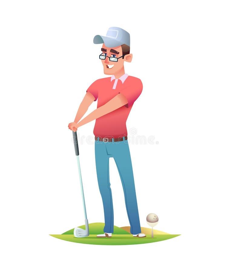 Grappige vrolijke golfspeler die zich bij de golfcursus bevinden Het ontwerpillustratie van het beeldverhaalkarakter royalty-vrije illustratie
