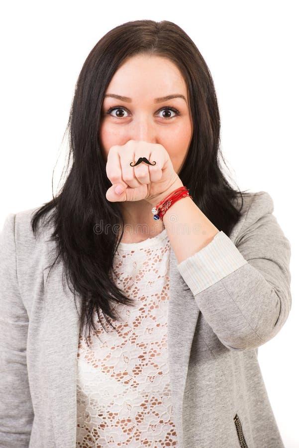 Download Grappige Vrouw Met Snorring Stock Foto - Afbeelding bestaande uit portret, gelukkig: 39117606