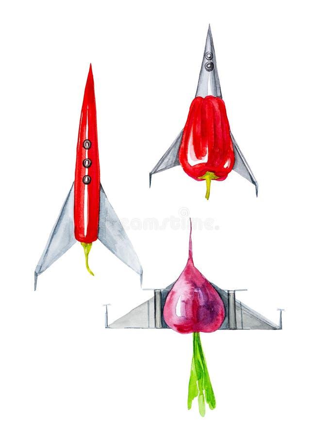 Grappige waterverfillustratie van vechtersvliegtuigen in de vorm van groenten, Spaanse peper, radijs en Spaanse peper Geïsoleerd  vector illustratie