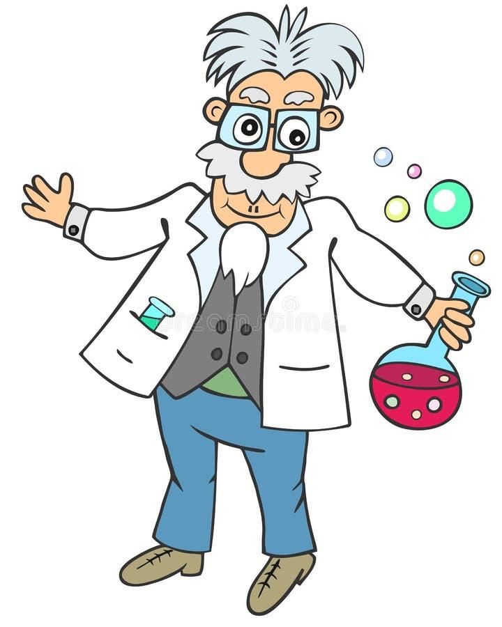 Grappige wetenschapper met chemische fles stock illustratie