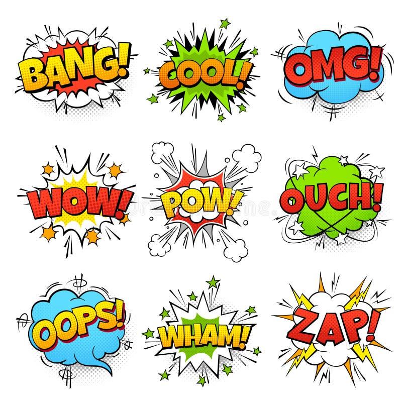 Grappige woorden De bel van de beeldverhaaltoespraak met de tekst van de zap pow wtf boom De ballons vectorreeks van het strippag stock illustratie