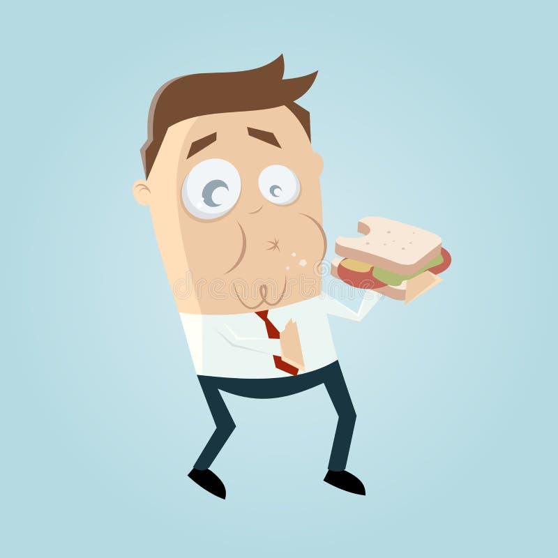 Grappige zakenman die een sandwich eten vector illustratie