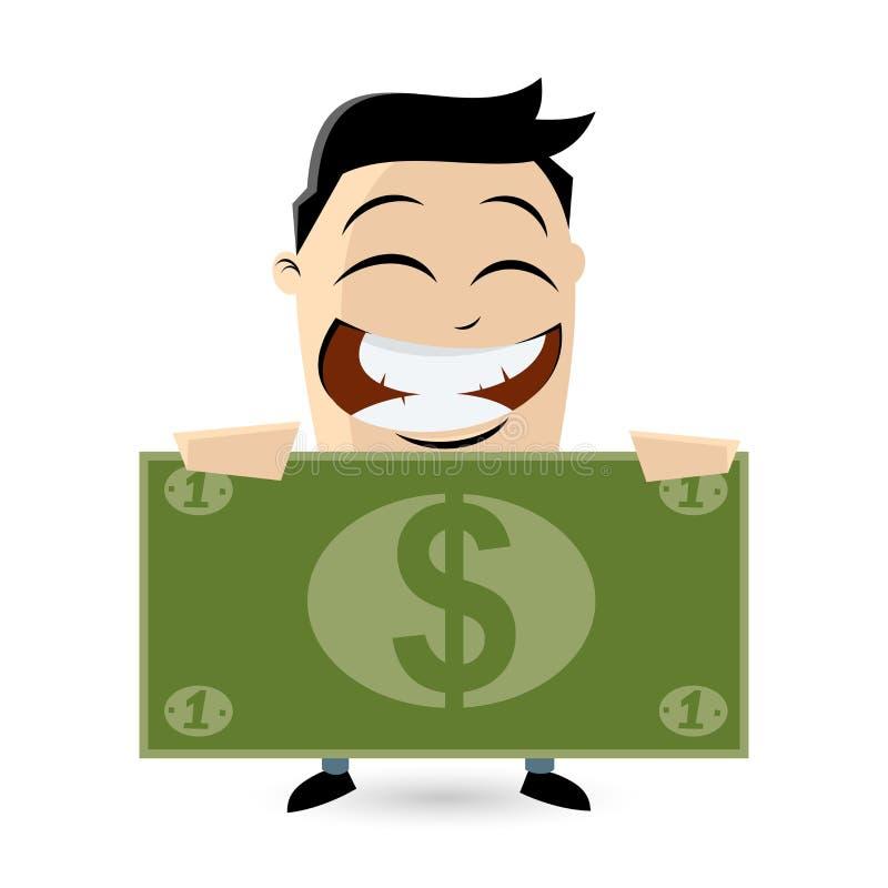 Grappige zakenman met grote dollarrekening stock illustratie