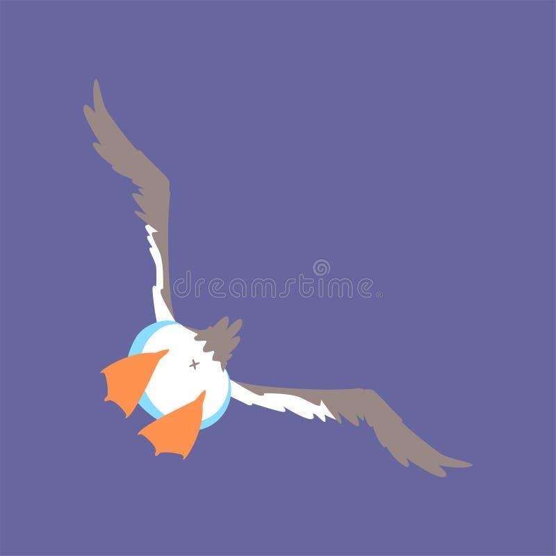 Grappige zeemeeuw die, leuke grappige het beeldverhaal vectorillustratie van het vogelkarakter vliegen stock illustratie