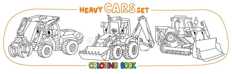 Grappige zware machinesvervoer het kleuren boekreeks vector illustratie