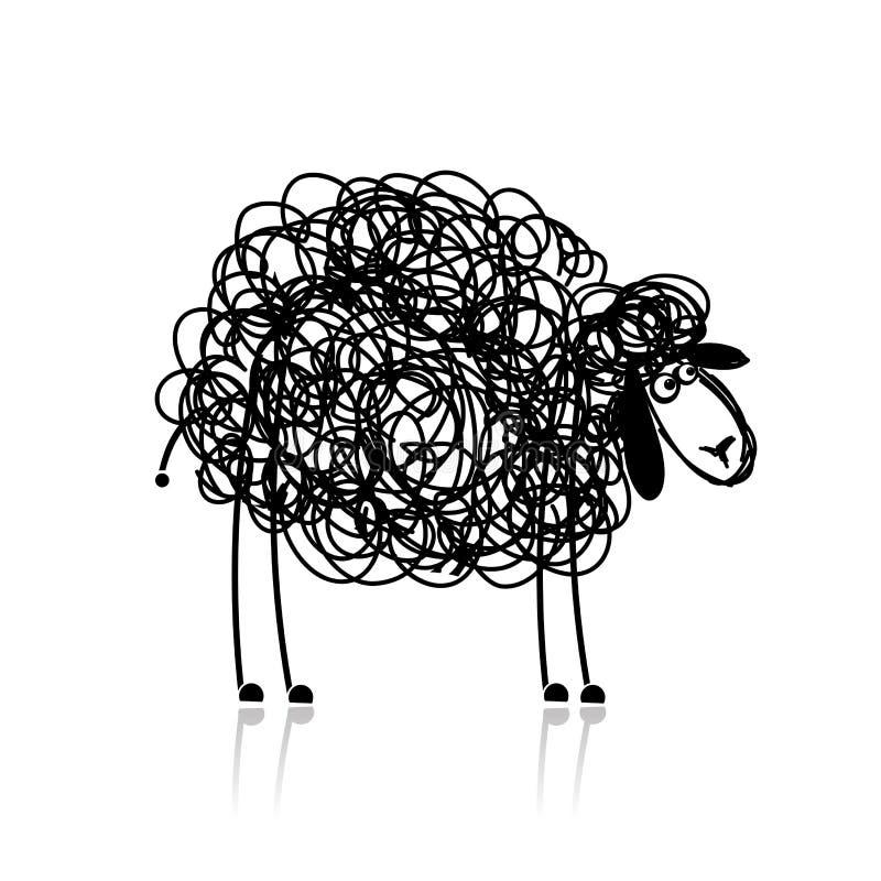Grappige zwart schapen, schets stock illustratie