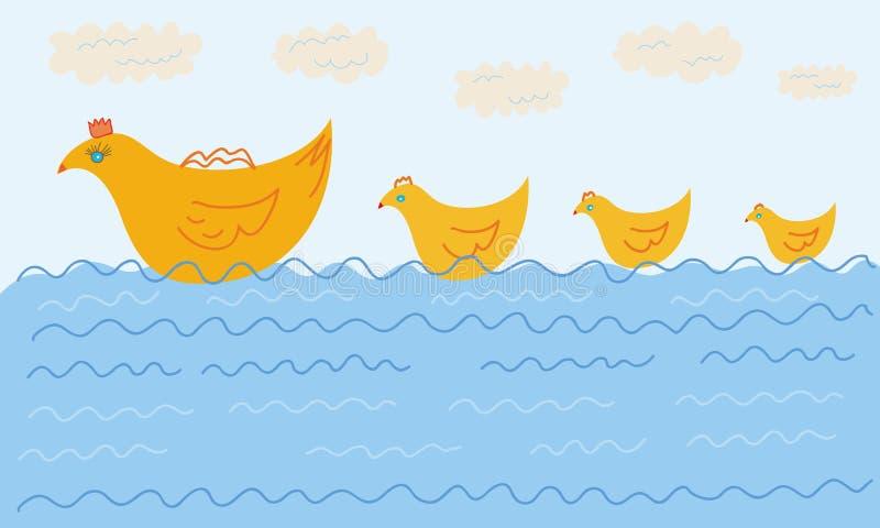 Grappige zwemmende eendfamilie stock illustratie