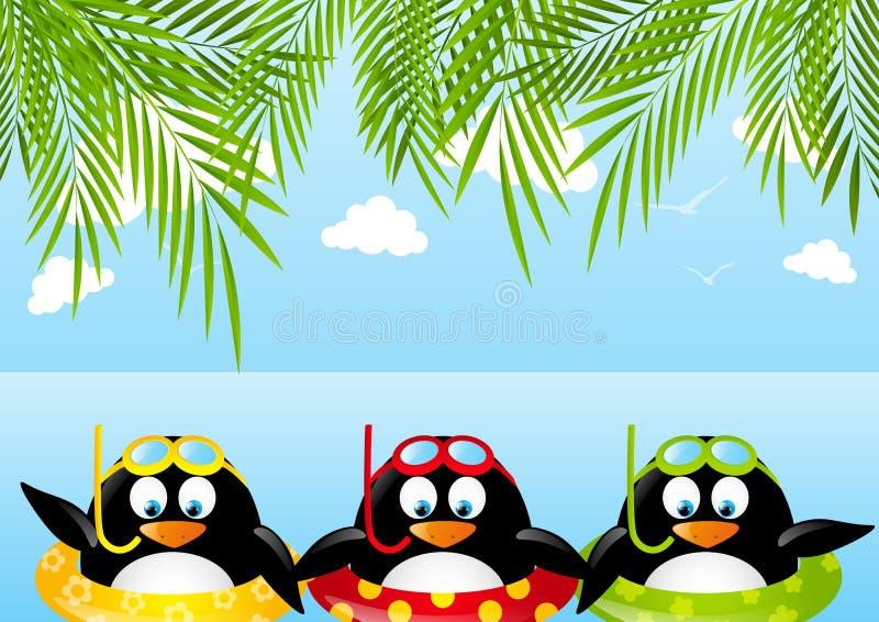 Grappige zwemmende pinguïnen stock illustratie