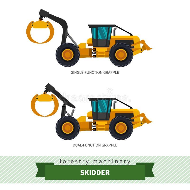 Grapple skidder forestry vehicle vector illustration