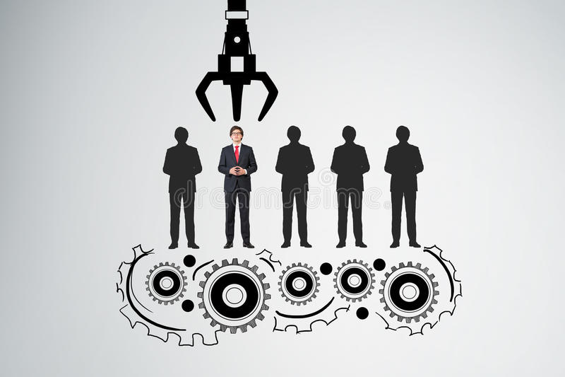 Grappling hook picking a businessman vector illustration