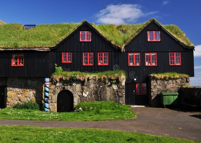 Gras behandeld huis, IJsland stock fotografie