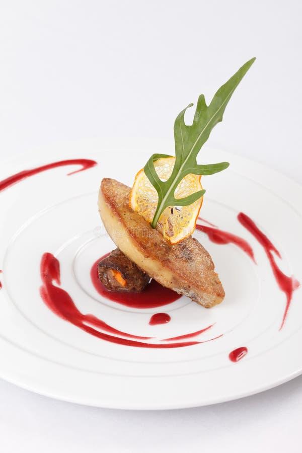 Gras de Foie avec de la sauce photo stock