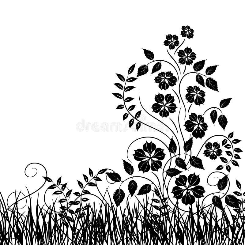 Gras en bloem, vector royalty-vrije illustratie