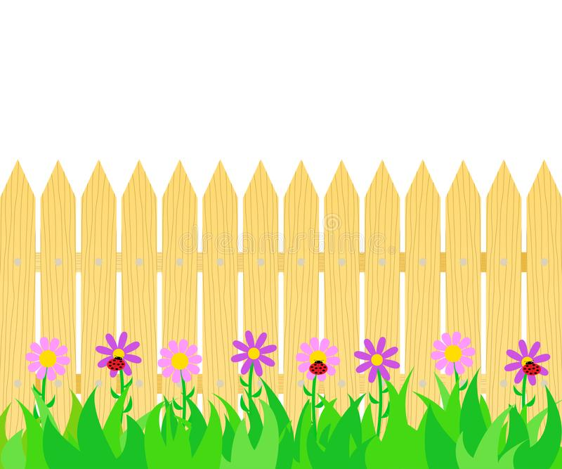 Gras en bloemen vóór de omheining vector illustratie