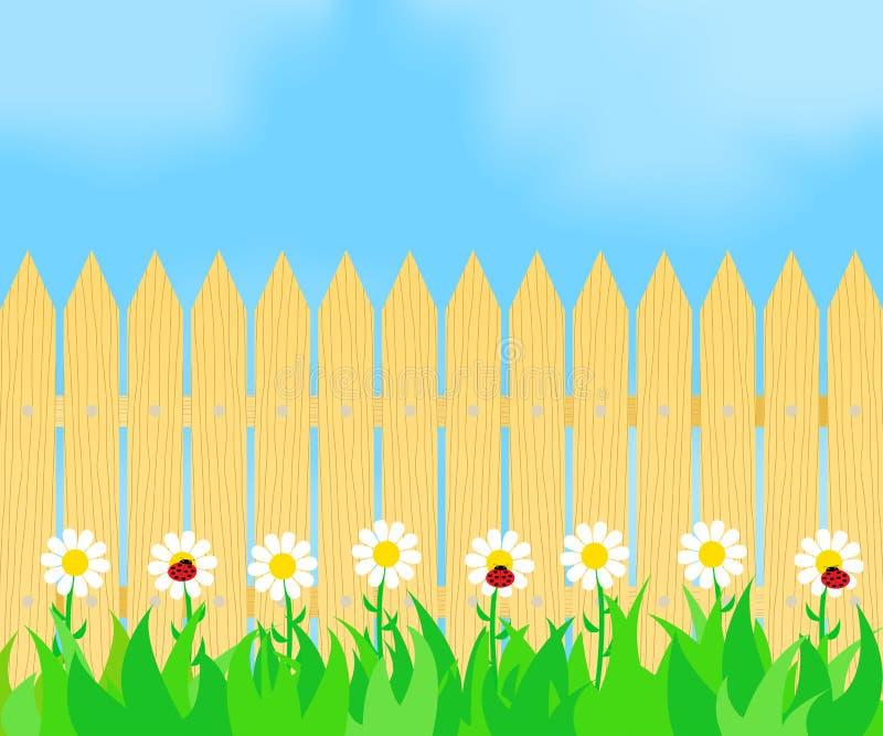 Gras en bloemen vóór de omheining stock illustratie