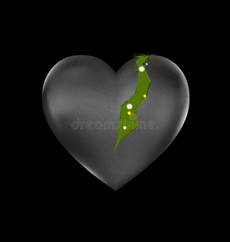 Gras en gebroken hart royalty-vrije illustratie