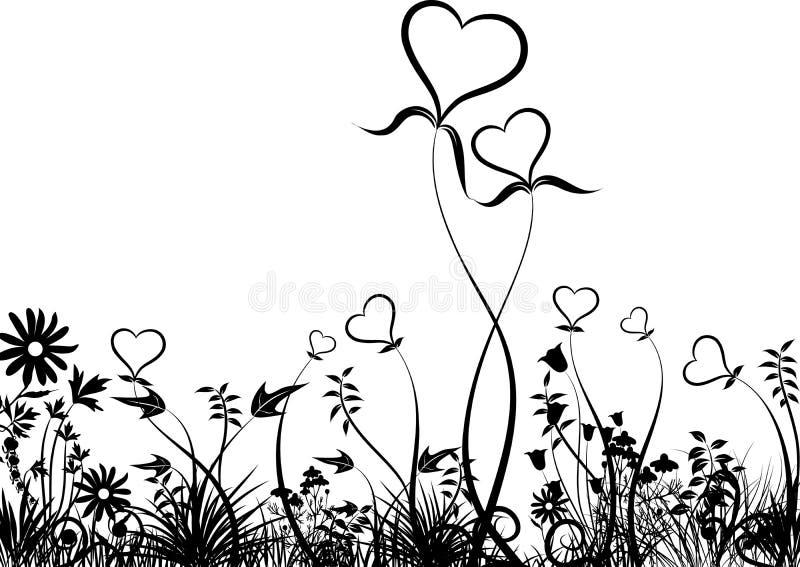 Gras en harten, vector royalty-vrije illustratie