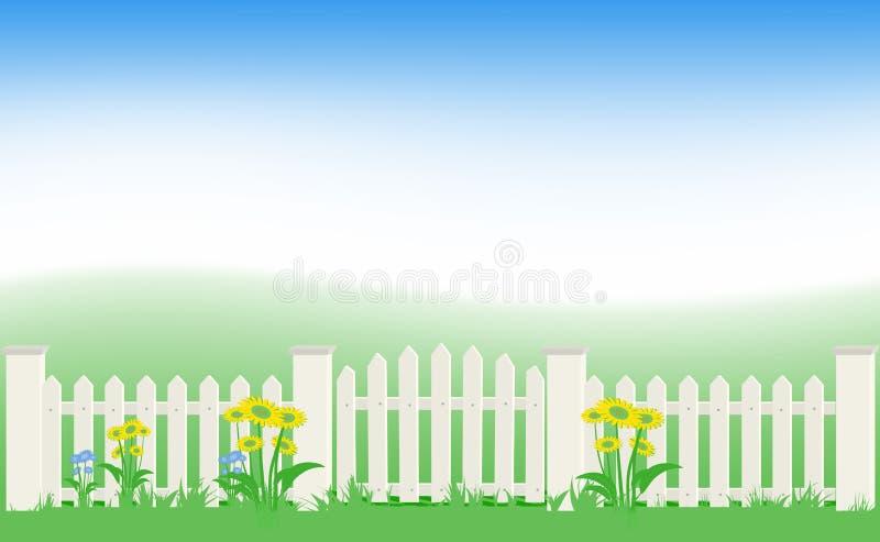 Gras en omheining onder blauwe hemel. vector illustratie