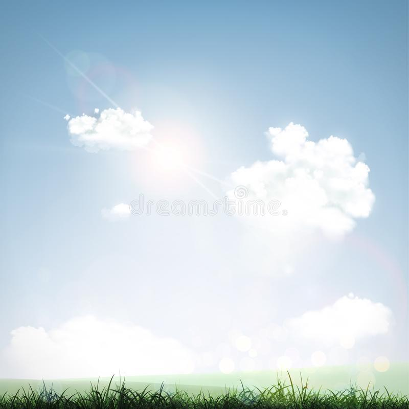 Gras, Himmel und Wolken stock abbildung