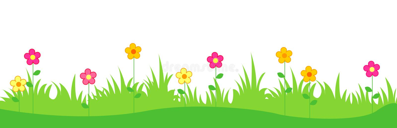 Gras met de lentebloemen stock illustratie