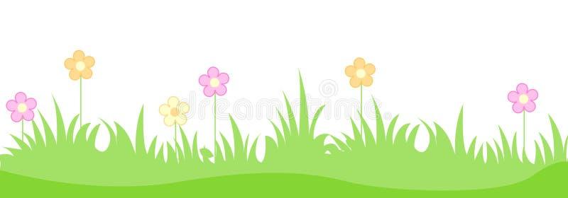 Gras met de lentebloemen