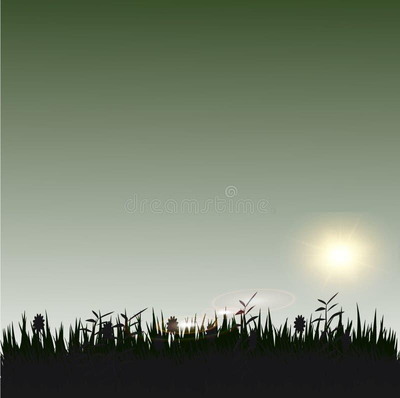 Gras met zonneschijnsilhouet vector illustratie