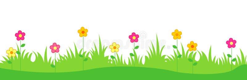 Gras mit Frühlingsblumen stock abbildung