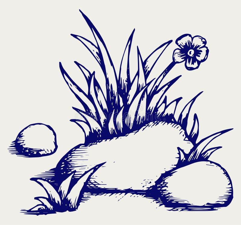 Gras in stenen