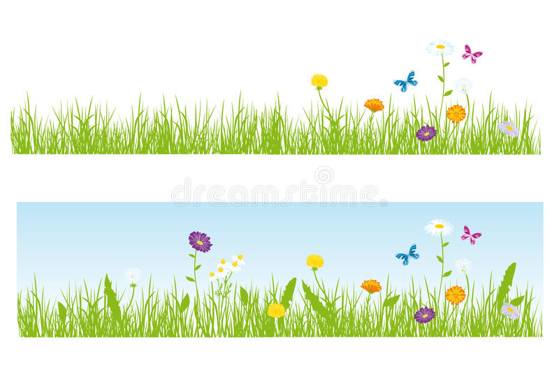 Gras und Blumen stockbilder