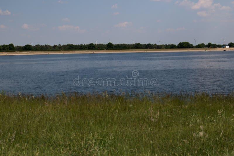 Gras, water, strand en hout bij het opslagoverzees geeste Duitsland met blauwe hemel en witte wolken royalty-vrije stock foto's