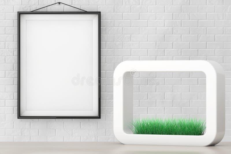 Gras in Witte Keramiekplanter voor Bakstenen muur met Blan vector illustratie