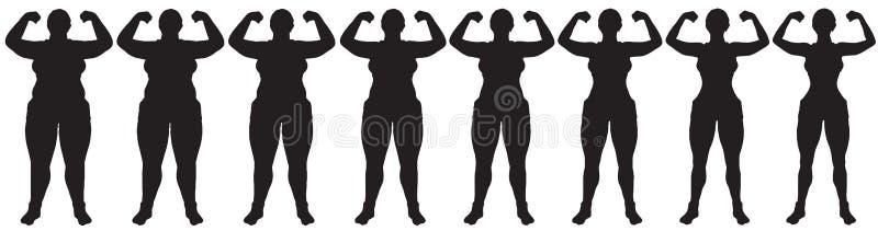 Grasa para adelgazar el frente de la silueta de la transformación de la pérdida de peso de la mujer stock de ilustración