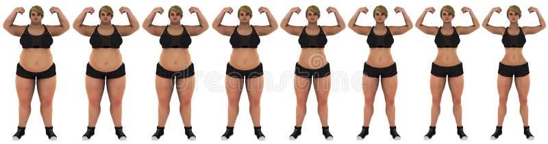 Grasa para adelgazar el frente de la transformación de la pérdida de peso de la mujer fotos de archivo