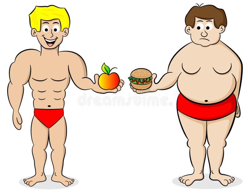 Grasa y un hombre del ajuste y su dieta stock de ilustración