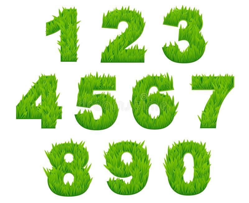 Grasaantallen en cijfers royalty-vrije illustratie