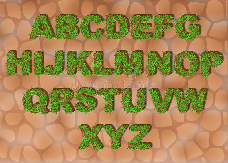 Grasalfabet die brieven met textuur van het de lente de groene gras voor onderwijs of ecologisch conceptontwerp afschilderen Ecod stock illustratie