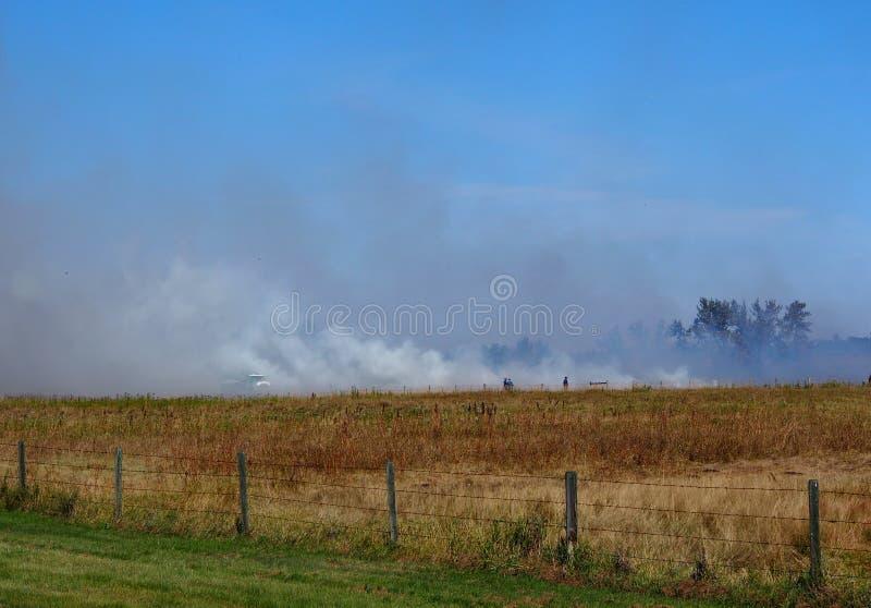 Grasbrand auf Alberta Prairie lizenzfreies stockfoto