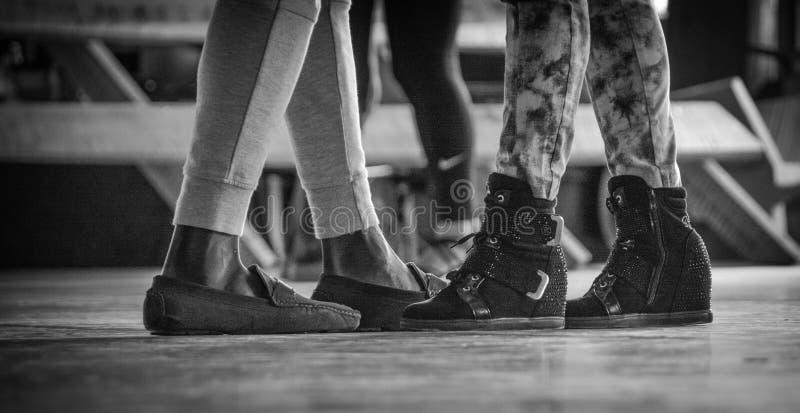 Grascale Photo of Person's Legs stock photos