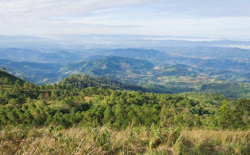 Grasgebied op Berg met Hemel en Wolk bij het Nationale Park Phayao Thailand 2 van Phu Langka royalty-vrije stock foto