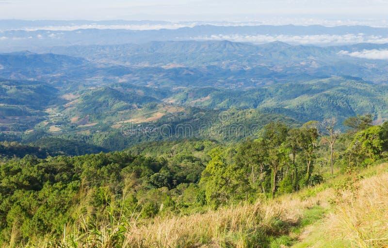 Grasgebied op Berg met Hemel en Wolk bij het Nationale Park Phayao Thailand 5 van Phu Langka stock foto's