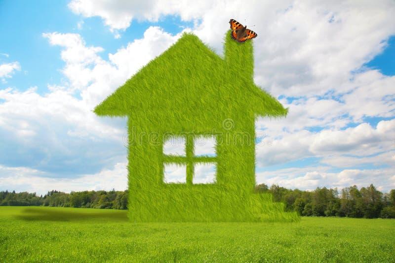 Grashaus mit Basisrecheneinheit auf Sommerwiese lizenzfreie stockbilder