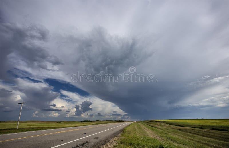 Grasland-Sturm-Wolken stockfotos