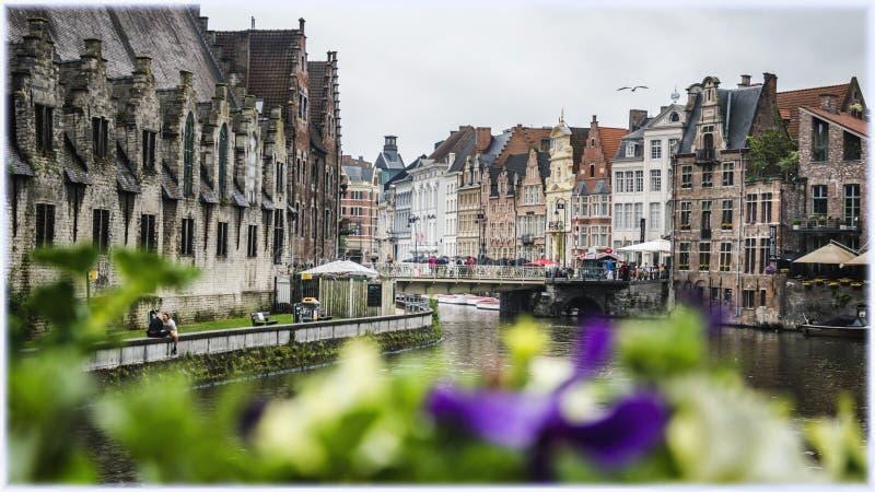 Graslei码头在跟特,比利时 免版税库存图片