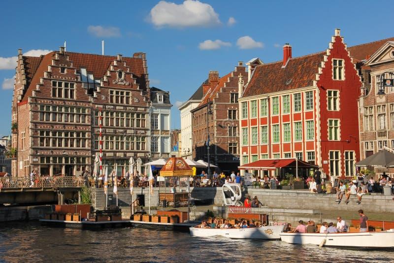 Graslei 搭乘点 跟特 比利时 免版税库存照片