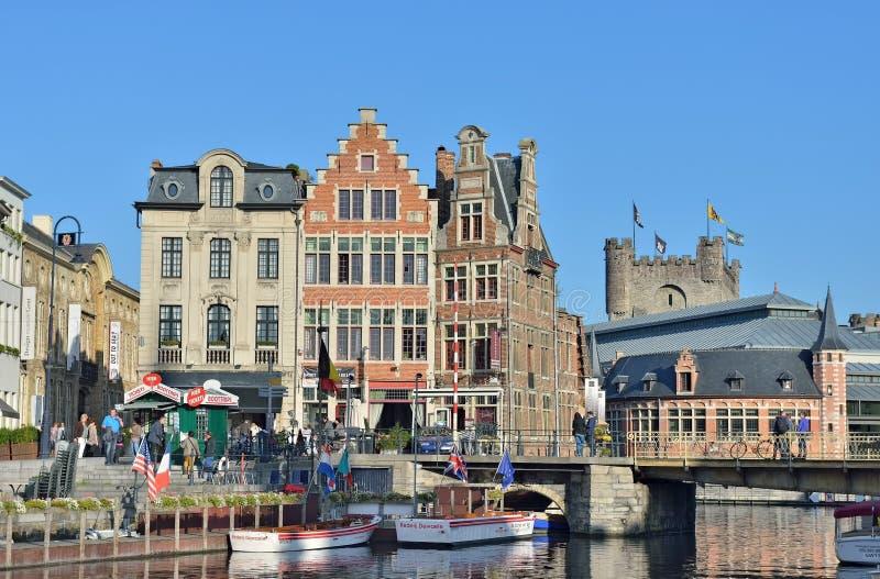 Graslei kwadrat w dziejowym centrum miasto Ghent fotografia royalty free