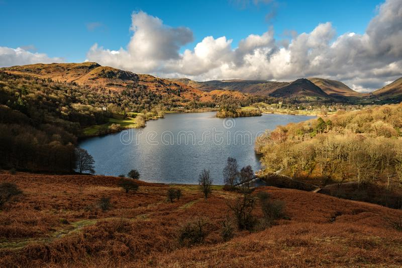 Grasmere from Loughrigg Fell. In the English Lake District stock image