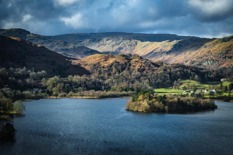 Grasmere taken from Loughrigg Fell. In the English Lake District royalty free stock image