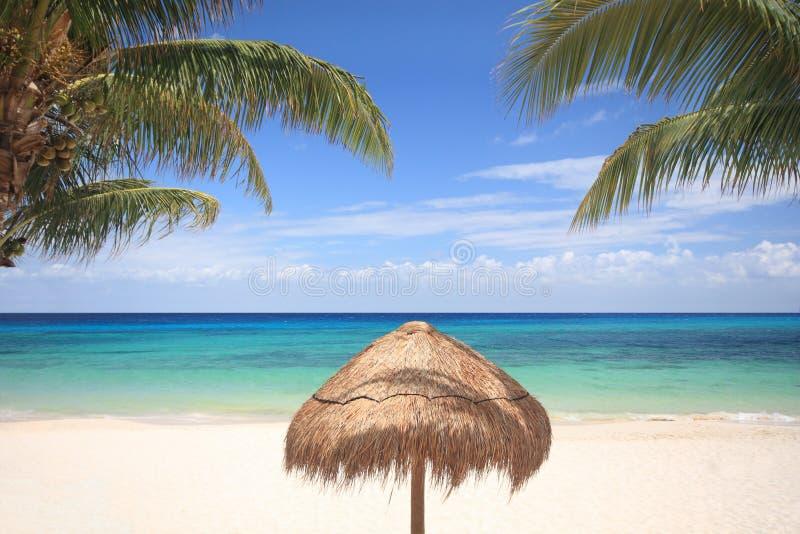 Grasregenschirm auf tropischem Strand stockbilder
