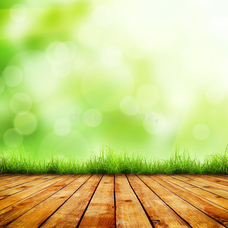 Grass. Fresh spring green grass with green bokeh and sunlight and wood floor. Beauty natural background stock image