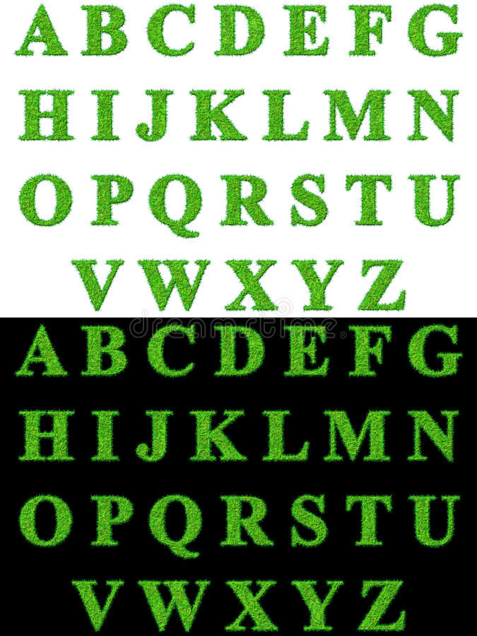Grass alphabet stock photos